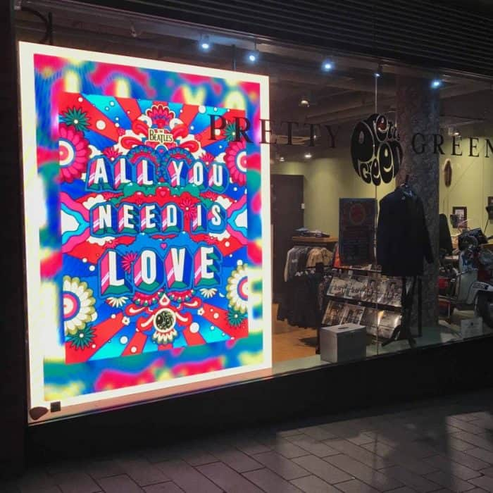 LED SCREENS IN PRETTY GREEN WINDOWS – LONDON AND LIVERPOOL