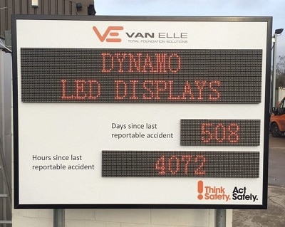 LED Health and Safety Signs - Days Since Last Accident